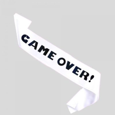 Game over banner til polterabend