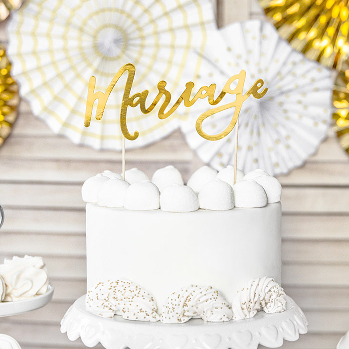 Guld marriage caketopper
