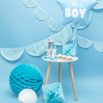 Its a boy babyshower lyseblå pynt