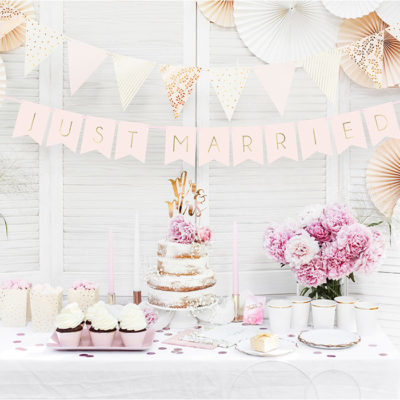 Just married banner rosa