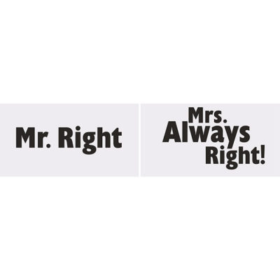 Klistermærker mr. right, mrs always right