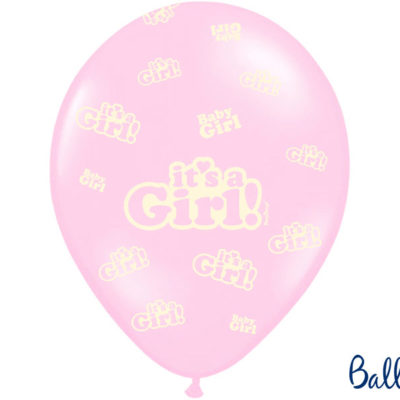 Lyserød-It's-a-girl-ballon