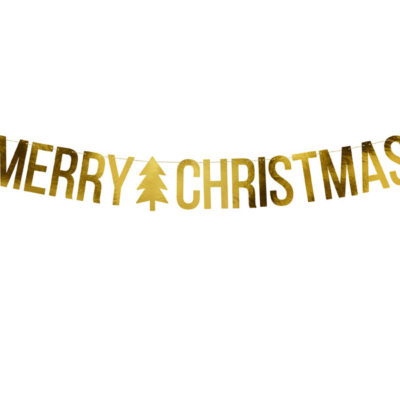 Merry christmas banner i guld