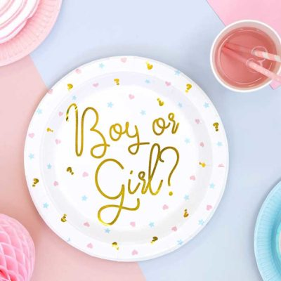 Boy or girl paptallerken til genderreveal