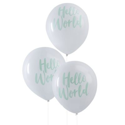 Balloner til babyshower med teksten hello world
