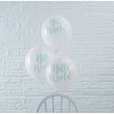 Hello world balloner til babyshower