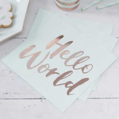 Hello world servietter til babyshower med rosaguld tekst